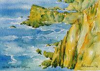 Algarve, Atlantik, Aquarellmalerei, Portugal