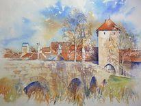 Aquarellmalerei, Seßlach, Brücke, Oberfranken