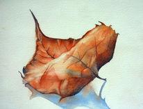 Aquarellmalerei, Fallen, Herbst, Rot
