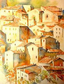 Italien, Aquarellmalerei, Sorano, Toskana