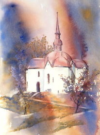 Ottilien, Kapelle, Aquarellmalerei, Schweiz buttisholz