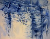 Indigo, Aquarellmalerei, Jeans, Blue jeans