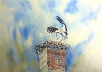 Aquarellmalerei, Storchennest, Storch, Nest