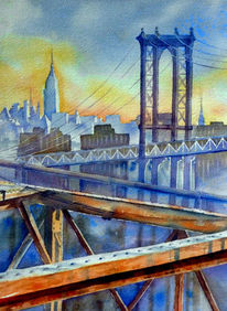 Nyc, Aquarellmalerei, Brooklyn bridge, Sonnenaufgang