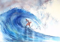 Mick fanning shark, Aquarellmalerei, Südafrika, Welle