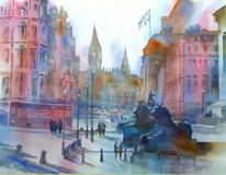 Trafalgar square, England, Aquarellmalerei, London
