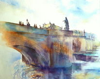 Festung, Aquarellmalerei, Marienburg, Alte mainbrücke