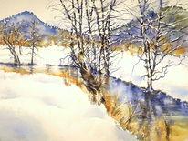 Wasser, Aquarellmalerei, Winter, Schnee