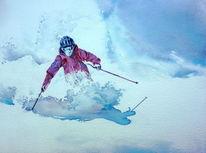 Ski, Aquarellmalerei, Tiefschnee, Schnee