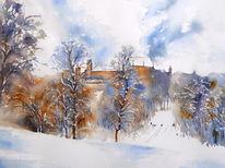 Bayer, Schnee, Veste coburg, Aquarellmalerei