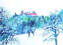 Oberfranken, Aquarellmalerei, Geschenk, Winter