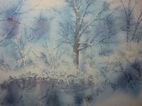 Aquarellmalerei, Wald, Winter, Baum