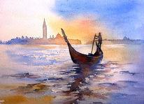 Gondel, Italien, Aquarellmalerei, Venezia