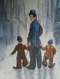 Kinder, Spaziergang, New york heimweg, Malerei