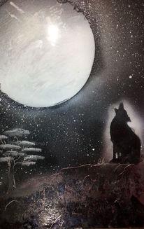 Mond, Sprühen, Wolf, Malerei