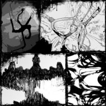 Tintenfleck, Collage, Abstrakt, Surreal