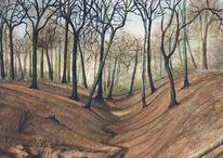 Frühling, Natur, Acrylmalerei, Landschaftsmalerei