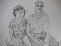 Bleistiftzeichnung, Eltern, Mehschen, Fotorealismus