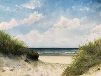 Borkum, Insel, Strand, Aquarellmalerei