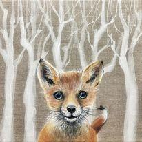 Acrylmalerei, Fuchs, Wald, Malerei