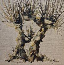 Baum, Weiden, Kopfweide, Aquarell