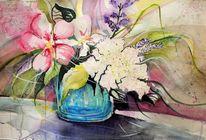 Blumen, Hibiskus, Aquarellmalerei, Mijello