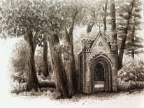 Kapelle, Sepia, Tuschmalerei, Zeichnung