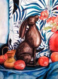 Stillleben, Hase, Apfel, Vase