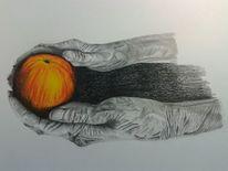 Zeichnung, Hände, Apfel, Malerei