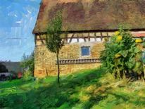 Landschaft, Bauernhof, Elsass, Digitale kunst