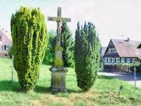 Dorf, Landschaft, Kruzifix, Elsass