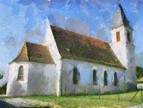 Landschaft, Kirche, Dorf, Elsass