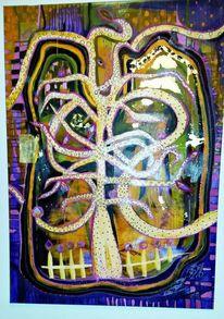 Gold, Baum, Collage, Natur