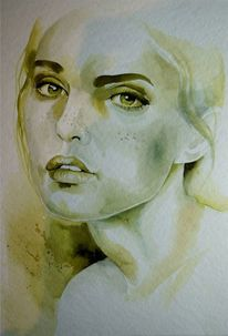 Aquarellmalerei, Portrait, Gesicht, Portrait in aquarell
