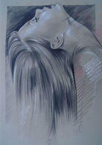 Portrait, Mischtechnik, Indianerportrait, Bleistiftzeichnung