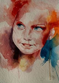 Aquarellmalerei, Portrait, Kinderportrait, Kind