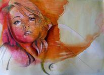 Portrait, Skizze, Mischtechnik, Bleistiftzeichnung