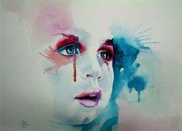 Kind, Aquarellmalerei, Gesicht, Malerei