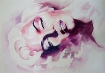 Marylin monroe, Aquarellmalerei, Model, Aquarell
