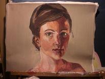 Frau, Acrylmalerei, Portrait, Beige