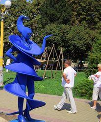 Menschen, Blau, Kostüm, Statue