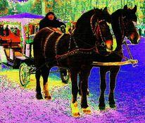 Jahreszeiten, Pferde, Fahrer, Pferdewagen