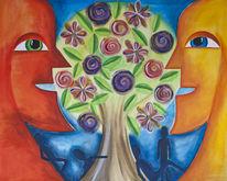 Wachstum, Menschen, Einigung, Baum