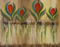 Wachstum, Blumen, Malerei, Surreal