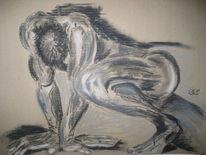Figural, Zeichnung, Kreide, Akt