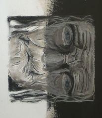Zeichnung, Asiate, Kreide, Portrait