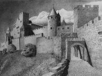Burg, Turm, Kohlezeichnung, Festung