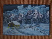 Berge, Pinsel, Berghütte, Ölmalerei
