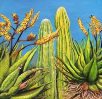 Mediterran, Grün, Ölmalerei, Pflanzen