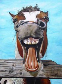 Karikatur, Portrait, Ölmalerei, Pferde
